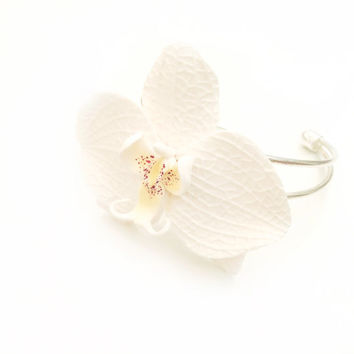 Orchid bracelet-orchid jewelry-real orchid jewelry-white orchid- wedding orchid bracelet-flower bracelet-real flower bracelet-white bracelet