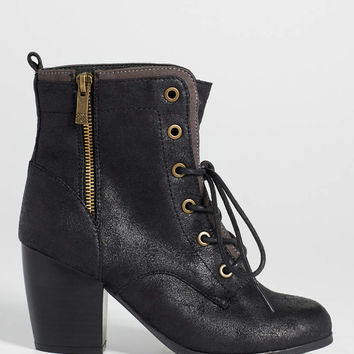 Jean lace up heeled combat bootie in black | maurices