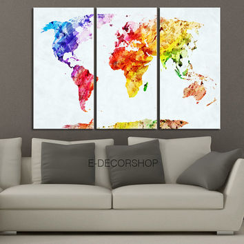 WORLD MAP Canvas Print - 3 Panel Canvas Art Print - Ready to Hang - Colorful Mix World Map