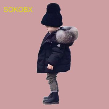 Fashion Boys Cotton Down Hooded Jacket Solid Coat Outerwear Girls Winter kids Jackets Warm Trench Thickening Children Clothing