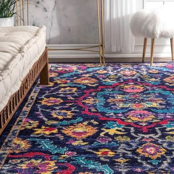 nuLOOM Vibrant Leaflet Medallion Multi Rug (5' x 8') - 5' x 8' | Overstock.com Shopping - The Best Deals on 5x8 - 6x9 Rugs