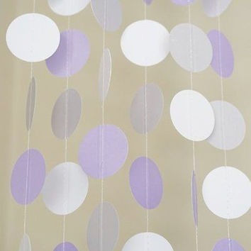 Lavender Purple White Gray Polka Dots Paper Garland Banner 10 FT Party Decor
