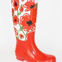 Womens  Authentic COACH A0522 PEARL Rain Boots Poppy All Over Flower Ivory Red