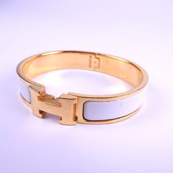 Authentic HERMES Clic Clac PM H Bangle Bracelet Enamel White Gold Plated A-8147