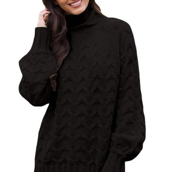 Black Cable Knit High Neck Sweater for Women