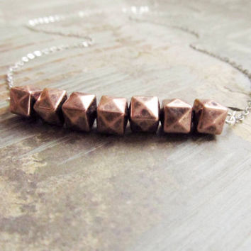 Copper Vermeil Necklace, Geometric Vermeil  Necklace, Mixed Metal Jewelry, Faceted Nugget, 4tasteofshabbychic