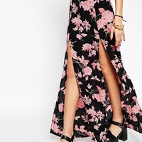 ASOS Maxi Skirt in Bold Floral Print with Front Splits
