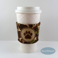Coffee Cup Sleeve, Camouflage Doggie Bones Embroidered Paw Print, Cold Drink Wrap