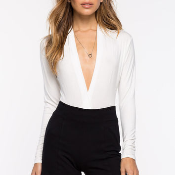 Business Affair White Drape Front Bodysuit