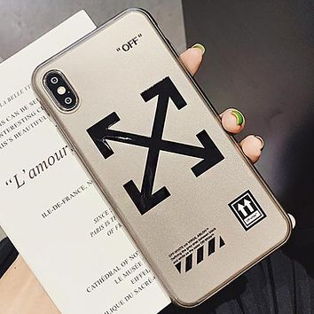 Off White Fashion New Letter Cross Arrow Print Protective Cover Phone Case Gray