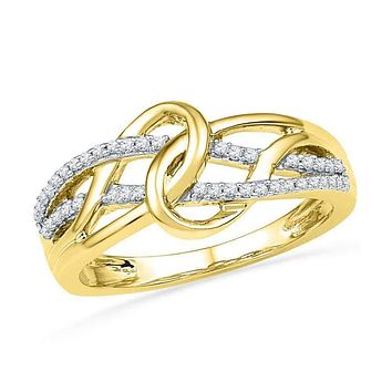 10kt Yellow Gold Women's Round Diamond Infinity Loop Knot Lasso Ring 1/6 Cttw - FREE Shipping (US/CAN)