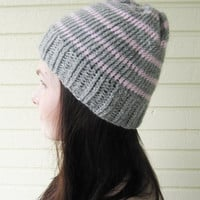 Gray knitted beanie with pink stripes, beanie, knitted hat, basic beanie, unisex beanie, winter accessories, winter, fall accessories