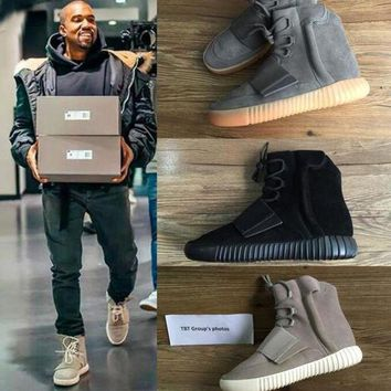 LMFIW1 TOP 750 Boost Glow In The Dark Kanye West Leather Ankle Boots Men's Sport Running Shoe