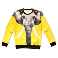 Elephant Face Graphic Print Unisex Pullover Sweatshirt Sweater | Gifts for Animal Lovers
