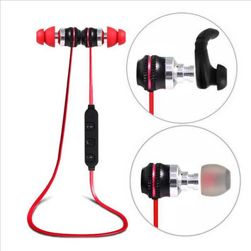 Newest Metal Smart Magnetic Sport Bluetooth Headset Wireless Stereo Earphones With HD Microphone for iPhone 6/6s Android phones