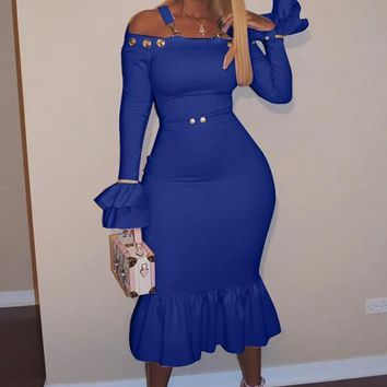 Blue Ruffle Shoulder-Strap Off Shoulder Flare Sleeve Party Midi Dress