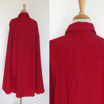 Vintage Tuxster All Purpose Red Stitch Trim Bow Neck Double Breasted Cape Sz 14