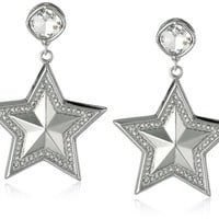 BCBGeneration Door Knocker Silver-Tone Star Earrings