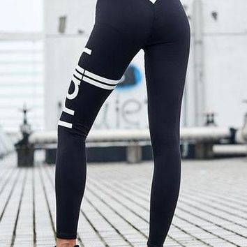 Train Print Contrast High Elastic Yoga Leggings
