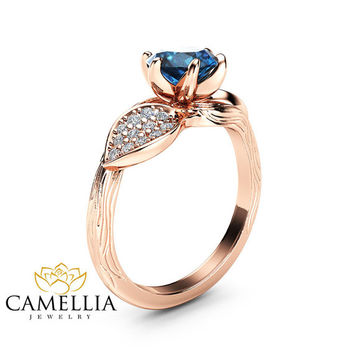 Blue Diamond Leaf Engagement Ring 14K Rose Gold Engagement Ring Branch and Leaf Diamond Ring