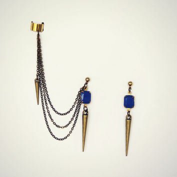 spike ear cuff earrings with blue ston, dangle ear cuff, ear piece, tribal ear cuff, punk ear cuff