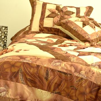 DaDa Bedding Diamond of Night Brown Beige Floral Stars Ruffles Comforter Set (BM915L)