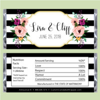 Black and White Stripes Wedding Candy Bar Wrappers