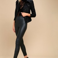 Donovan Black Vegan Leather Leggings