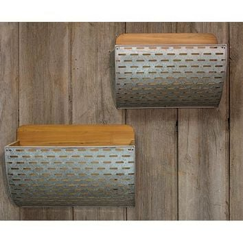 Galvanized Olive Bucket Wall Baskets - Set Of Two