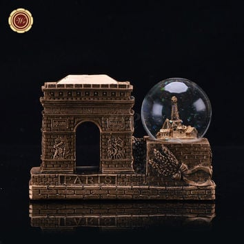 WR Vintage Famous Paris Triumphal Arch Models Novelty Snow Globe Dome France Landmark Tourism Souvenir 15X6X11 Cm Home Ornament
