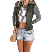 Olive Faux Leather Knit Jacket