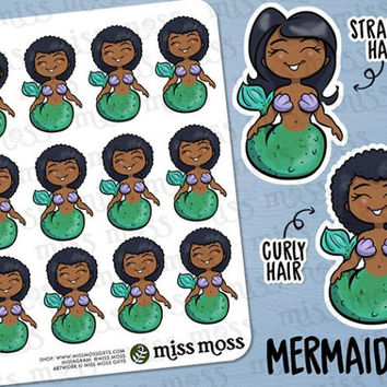 Brown Skin Mermaid Swimming Planner Stickers, African American Black - Erin Condren, Happy Planner, Kikki K, Filofax, Decorative