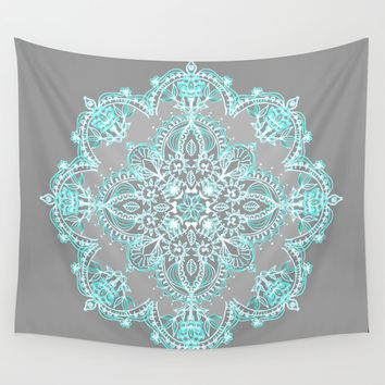 Teal and Aqua Lace Mandala on Grey Wall Tapestry by Micklyn