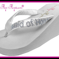 Maid of Honor Flip Flops Bridesmaid BLING Wedding Bridal Bling Ivory White Glitter Wedge Womens Platform Satin Flip Flops