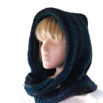 Unique Design Hooded Scarf - Blues, Greens and Reds for Men and Women, Hood & Scarf Combo, Hoodie, Fashion Accessories, Winter Warmers