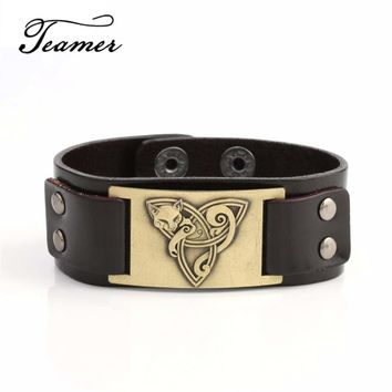 Teamer Fox Pagan Genuine Leather Viking Bracelet Animal Amulet Supernatural Talisman Black/Brown Colors for Man/Woman Gifts