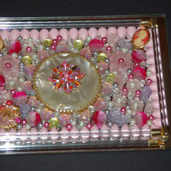 Hand Made Jeweled Tray Repurposed Art Tray with Pearl, Cameo's, Broches and other Objects