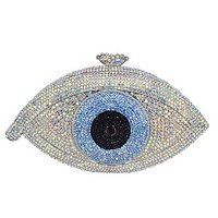 Evil Eye Crystal Metal Frame luxury clutch bag