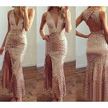 LMFON DEEP V-NECK BACKLESS SEQUINED DRESS