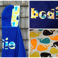 Boys Personalized Hooded Towel Blue with whales Bath Pool Beach Towel Boys Kids Toddler Christmas Holiday Hanukkah Birthday Gift Idea