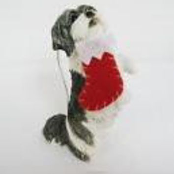 Sandicast Ornament - Shih Tzu, Gold/White with Stocking in mouth