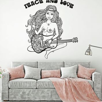 Vinyl Decal Wall Sticker Nude Hippie Girl Peace and Love Life Style (n855)