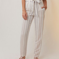 Striped Linen-Blend Sash Waist Ankle Pant