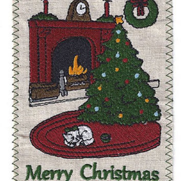 Christmas Tree and Cat Embroidered Linen Christmas Greeting Card