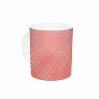 "Famenxt ""All A Blaze Abstract"" Coral Beige Illustration Ceramic Coffee Mug"