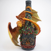 "decorated bottle with dragon ""Fireplace"" / Fantasy animals Creature Fire Statue Altered bottle Figure Figurine Fantasy Sculpture Statue"