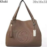 GUCCI Women's Fashion Trendy Leather Litchi Pattern Bag Tote Bag F-LLBPFSH Khaki