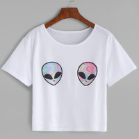 Aliens Print Loose T-shirt