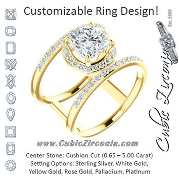 Cubic Zirconia Engagement Ring- The Jersey (Customizable Cushion Cut Halo Design with Open, Ultrawide Harness Double-Pavé Band)