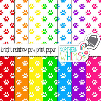Bright Rainbow Paw Prints Digital Paper Pack – colorful papers for pet scrapbooks, cards, web backgrounds, etc – instant download – CU OK